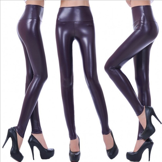 Womens PU Leather Pants High Elastic Waist Leggings Not Crack Slim Leather Leggings Fleece Trousers Women Fashion F80 41