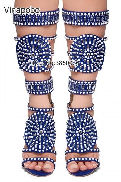Bout Hauts Robe Mi Bottes Noir Cut Cristal Talons The Chaussures Ouvert Strass Haute As Picture Gladiateur Blanc mollet out Genou À Femmes as Picture Mode VSqzUMpG