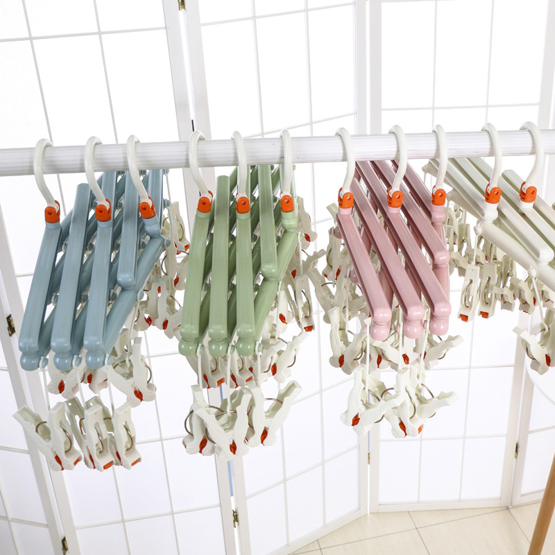 Telescopic collapsible plastic 29 Clips Folding Underwear Hanging Bra Sock Laundry Hanger Drying Clothes Rack Dryer