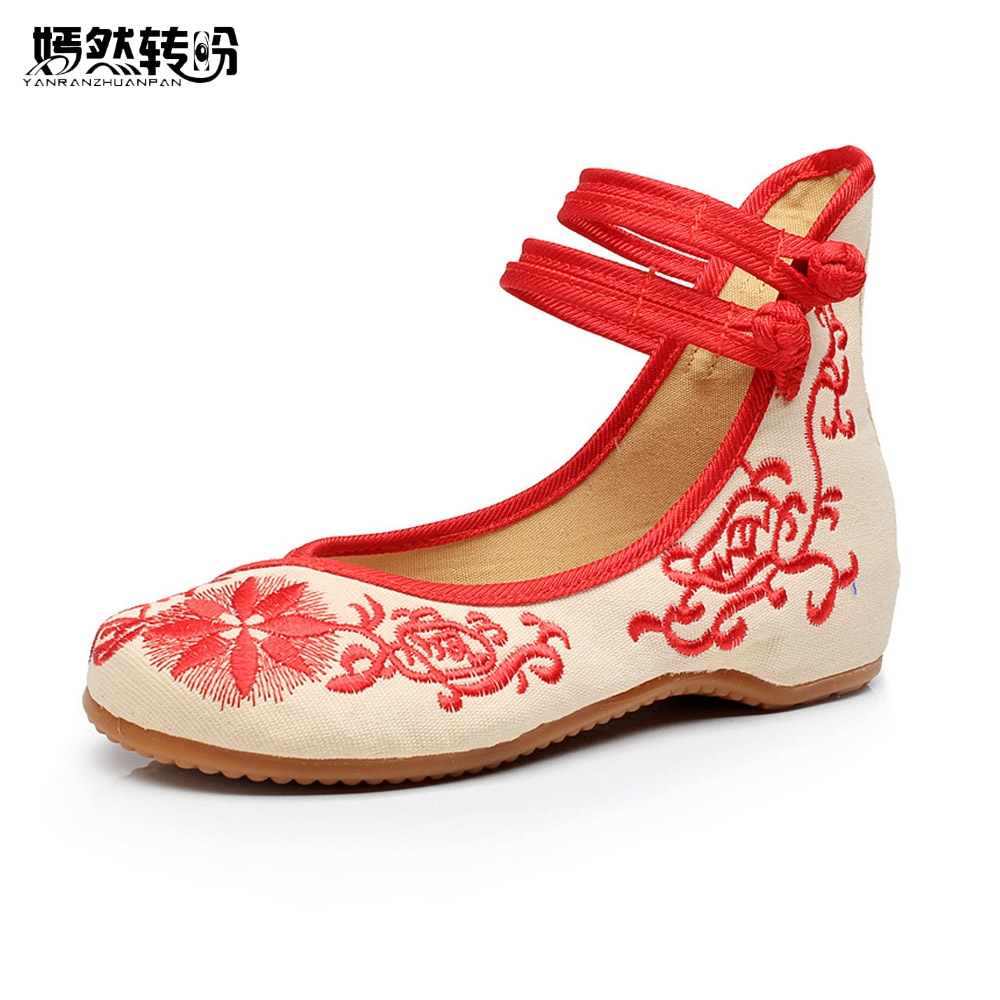 Fashion Women Shoes Old Beijing Mary Jane Flats Embroidered Casual Shoes Chinese Ballet Cloth Shoes Woman Zapatos Planos Mujer chinese women flats old beijing mary jane casual flower embroidered cloth canvas dance ballet shoes woman zapatos de mujer