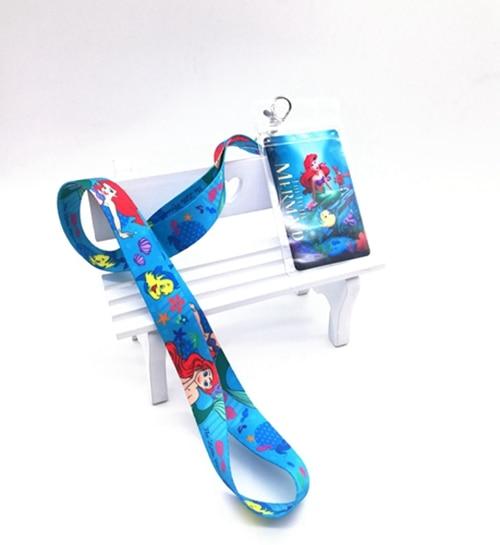 1 Pcs  Cartoon Mermaid Princess Neck Strap Lanyards Card Holders Bank Neck Strap Card Bus ID Holders  Rope Key Chain Gift K1