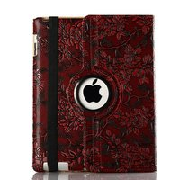Free shipping 360 degree revolve rotating case for Apple Ipad air2 Ipad6 cases,Grape pattern A1566 tablet protective skin shell