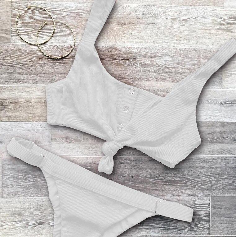 Sexy Knotted Scoop Ribbed Women Bikini Set 2017 Button Bathing Suit Tankini Push Up swimwear Maillot De Bain Swimsuit girls 1