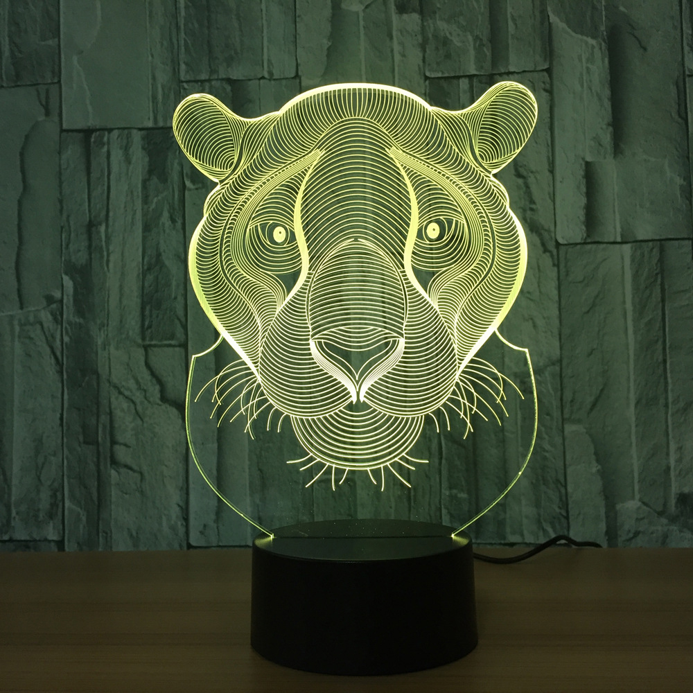 Holiday Gift LED Lights Novelty Tiger Lion Shaped Seven Colors Home Lighting 3D Table Lamp USB NightLight Christmas Gifts Decor