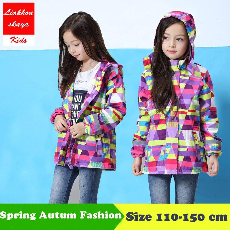 Liakhouskaya 2018 Fashion Spring Jacket For Girls 5-13 Years Outerwear Waterproof Windproof Hooded Coat For Girl Windbreakers