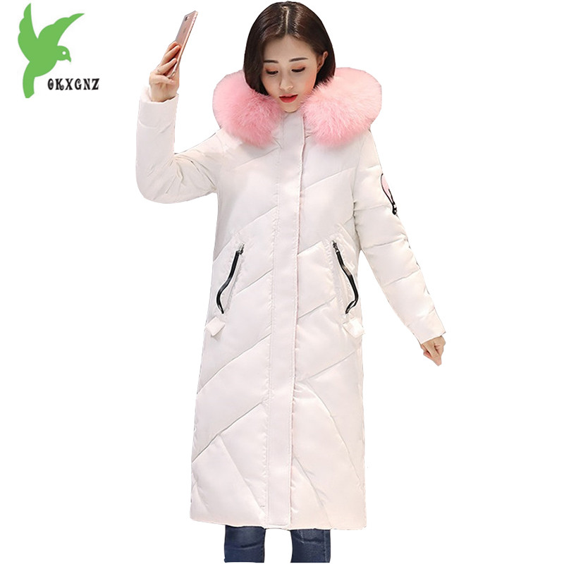 New Women Winter Down Cotton Long Style Jacket Fashion Solid Color Hooded Fur Collar Thick Plus Size Casual Slim Coat OKXGNZ 910 new winter women cotton jackets solid color hooded long coat plus size fur collar thicker warm slim casual outerwear okxgnz a795