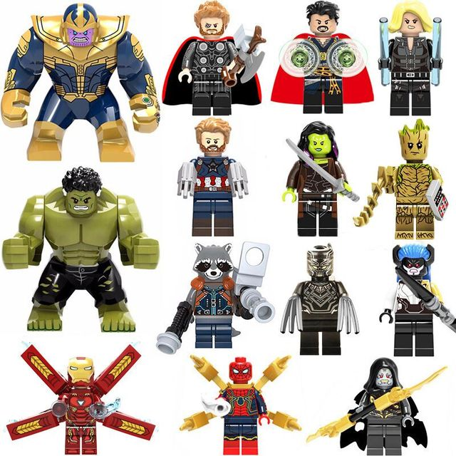 Super Heroes Avengers Marvel lEGOED: infinito Guerra Homem De Ferro Thor Thanos Pantera Negra Falcon Gamora Hulk Loki Building Blocks toy