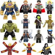 Super Heroes lEGOED Avengers Marvel: Infinity War Iron Man Thanos Thor Black Panther Falcon Gamora Hulk Loki Building Blocks toy