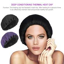 Hair Care Heating Hat Deep Conditioning Heat Cap Microwavable Heat Cap Steaming Microfiber Cotton Reversible Flaxseed Interior(China)