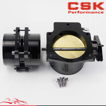 92mm Throttle Body+ Mass Air Flow Sensor MAF End Intake Adapter Fits For Chevy LS1 Black / Silver