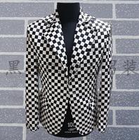 2018 Men Suits Designs Masculino Homme Terno Stage Costumes For Singers Men Plaid Blazer Dance Clothes Jacket Style Dress Korean