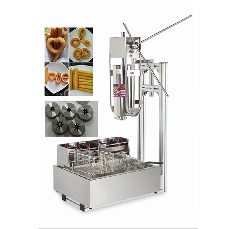 5L Stainless Steel Spanish Churro Maker Fried Dough Sticks Machine With 6L Electric Fryer Commercial Churros Machine churro display warmer deluxe stainless steel churro showcase machine with heat food warmer and oil filter tray