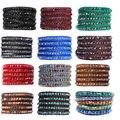 1 шт. 34 - 36 дюймов стекло дамы браслеты из бисера из натуральной кожи 5 упаковка браслеты для женщин бижутерии pulseira masculina рождественский подарок