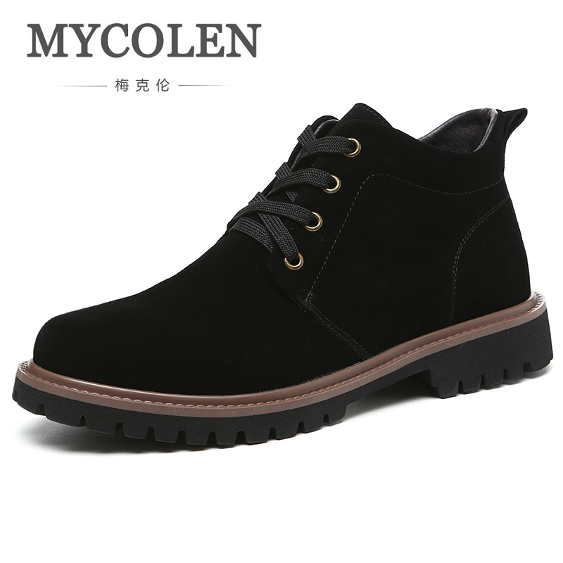 MYCOLEN 2018 Spring/Autumn Men Boots British Style Men Shoes New Fashion Black Lace-Up Comfortable Popular Ankle Boots serene 2017 men boots camouflage tooling boots british male fashion trend desert boots lace up shoes autumn