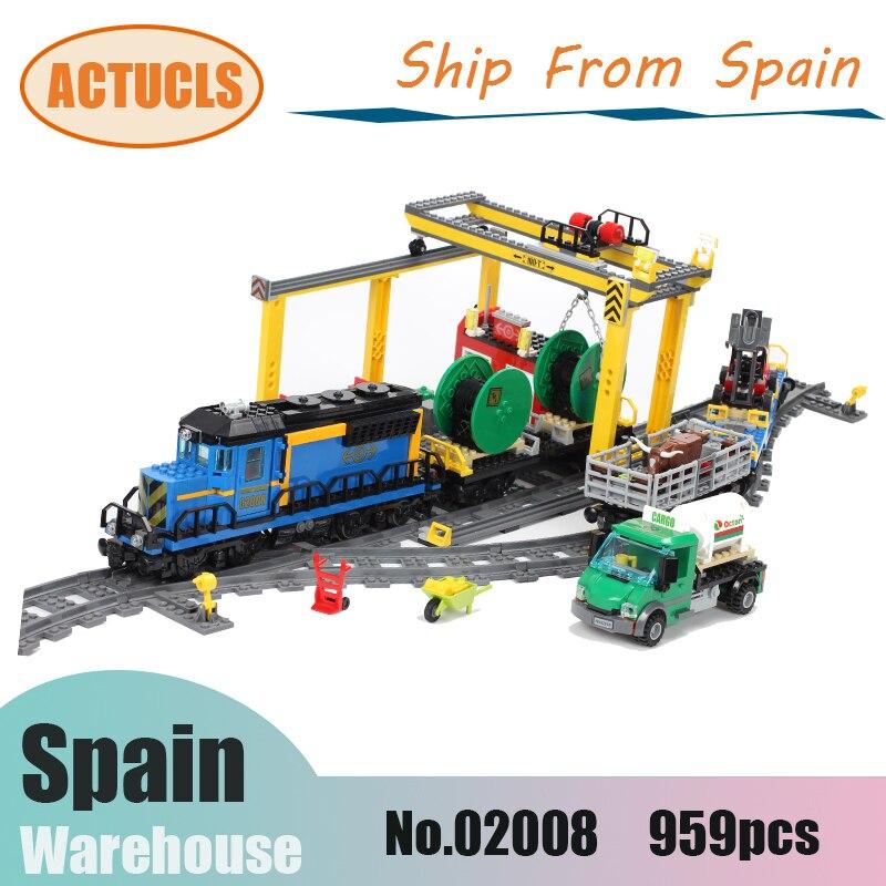 02009 Cargo Rc Train passager ville série blocs de construction 60098 60051 60052 Technic cadeaux Smart Toys briques pour enfants cadeau