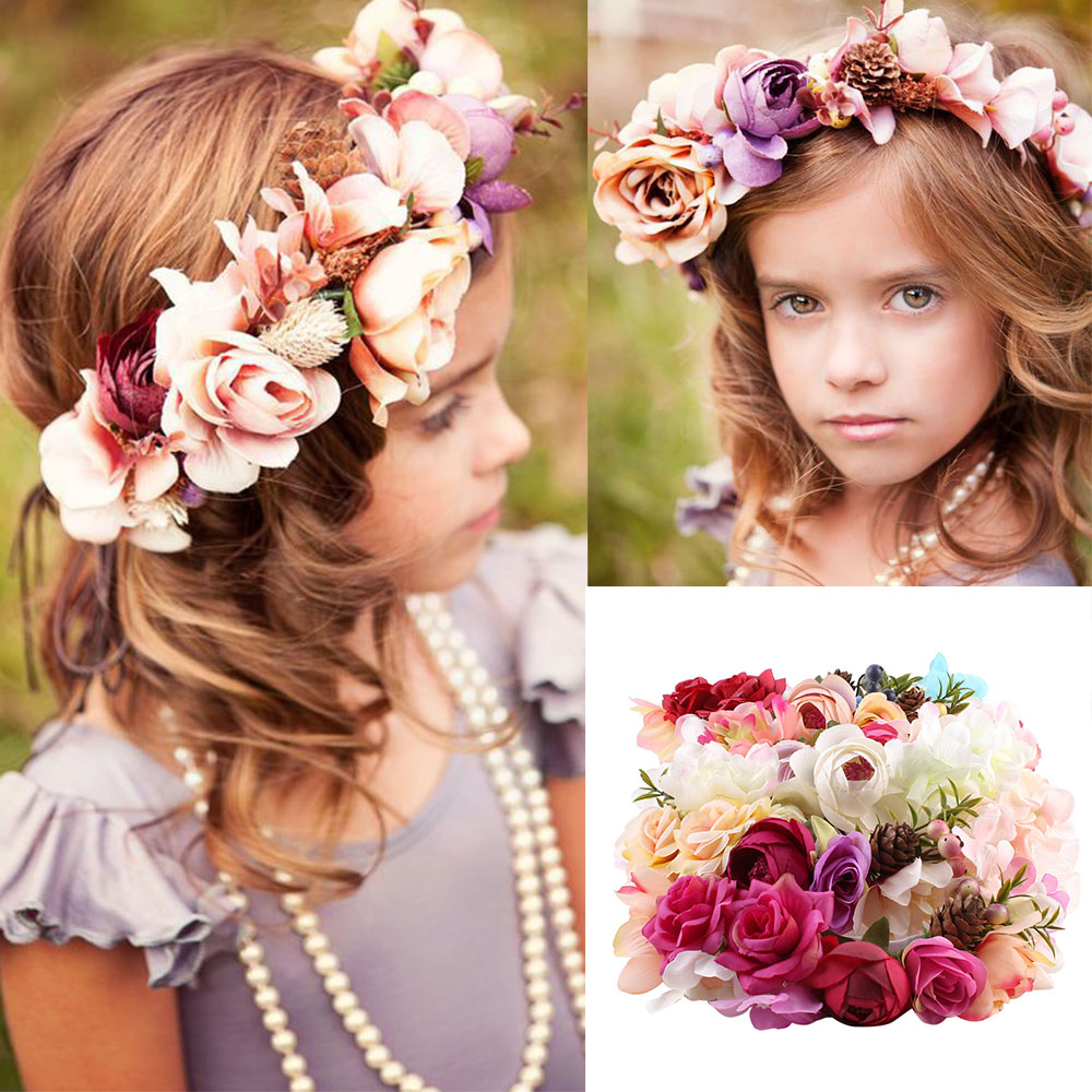 2018 Girls Flower Headband Handmade Diy Flower Wreath Crown Party