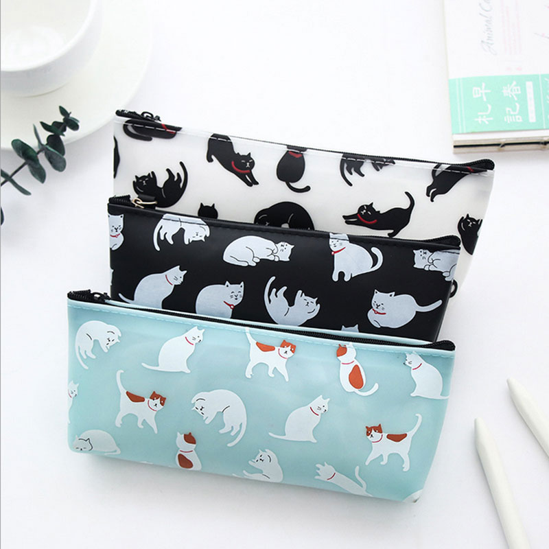 1X Creative Stationery Cat Stereo Silicone pencil bag kawaii stationery bag Animal pencil bag estojo escolar school supplies in Pencil Bags from Office School Supplies