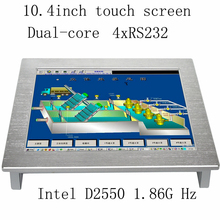 10.4 inch industrial touch panel PC, Intel-Atom D2550 CPU 1.86GHz 2GB RAM 32GB SSD 2xRJ45 2xRS232 1024×600 all in one computer
