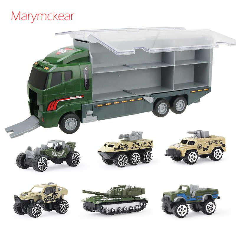 7 In 1 Trailer Mainan Mini Truk Militer Paduan Seri Mobil Anak Laki-laki Mainan Logam Alloy Mobil Diecast Kendaraan Mainan Keren hadiah untuk Anak-anak