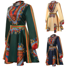 Adult Women African Dashiki Print Short Dress With Long Sleeves Ruched Collar Back Bet Tie Dress Front Slit Open Wear For Ladies