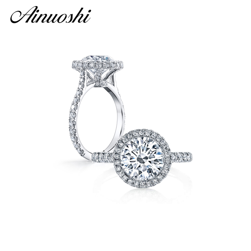 AINUOSHI 2016 New Arrival Super Shiny 4 carat Zircon Engagement Ring 925 Sterling Silver Ladies Finger Band Wedding Ring Jewelry