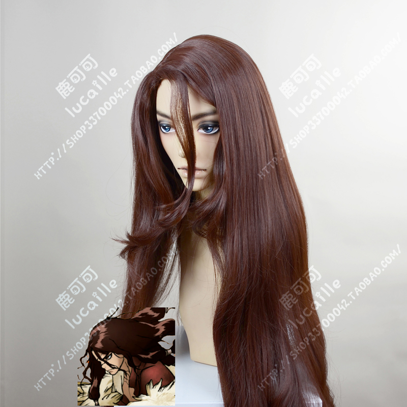 Anime Dr.STONE Tsukasa Shishio Wigs 100cm Long Brown Heat Resistant Synthetic Hair Cosplay Wigs + Wig Cap