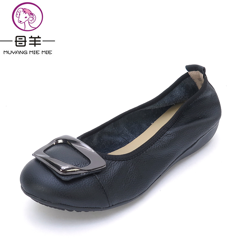 MUYANG MIE MIE Plus Size 5.5-9 Women Shoes Woman Genuine Leather Flat Shoes Comfortable casual Loafers Fashion Soft Women Flats
