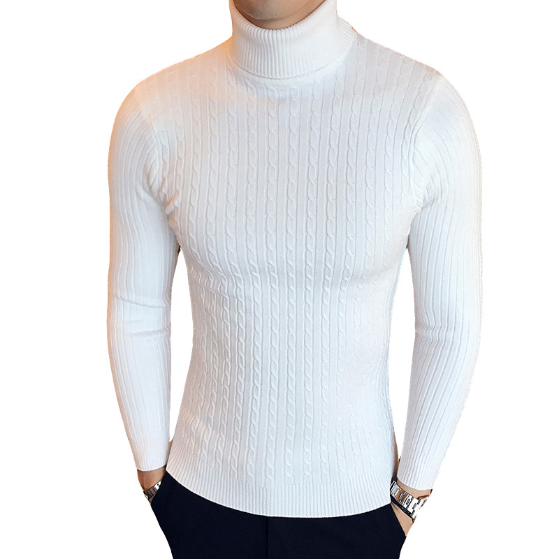 Men Winter Slim Fit Knitted High Neck Warm Sweater Pullover Jumper Turtleneck MS