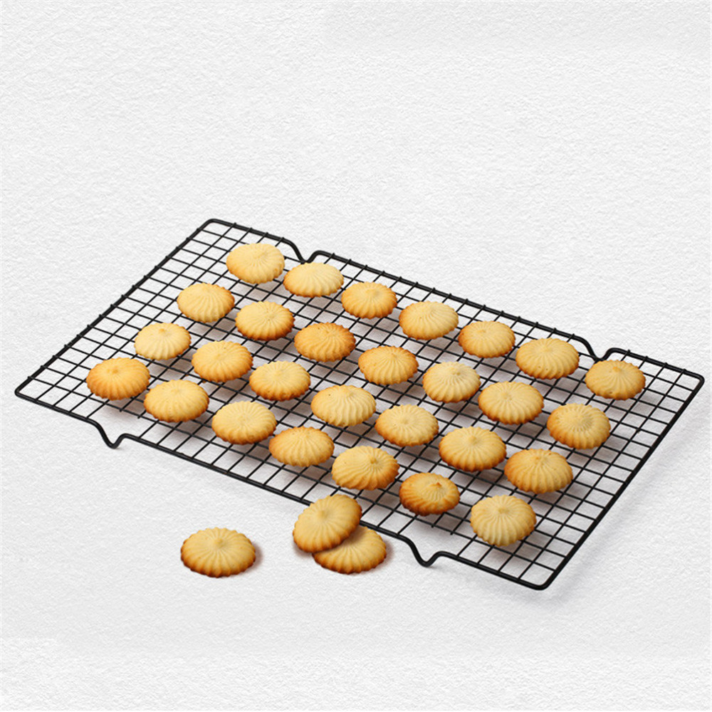 High Quality Black Rectangular Metal Mesh Nonstick Cake Cooling Rack Net For Cookies Pies And Cakes