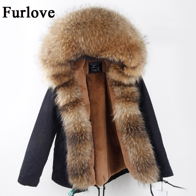 Army Green Black Camouflage Coats Real Raccoon Fur Collar