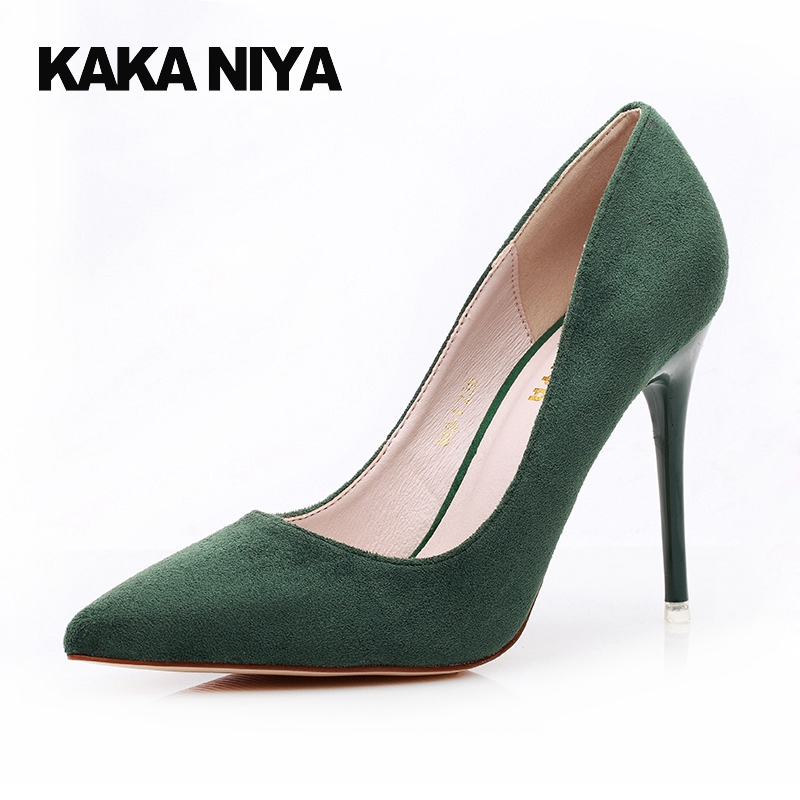 High Heels Dress Scarpin Pumps Green Super Party Shoes For Women Formal Pointed Toe 4 34 Small Size 9cm Inch 2017 Evening pumps rhinestone party pointed toe chic bridal shoes wedding stiletto extreme black 9cm 4 inch red 2017 34 small size women high