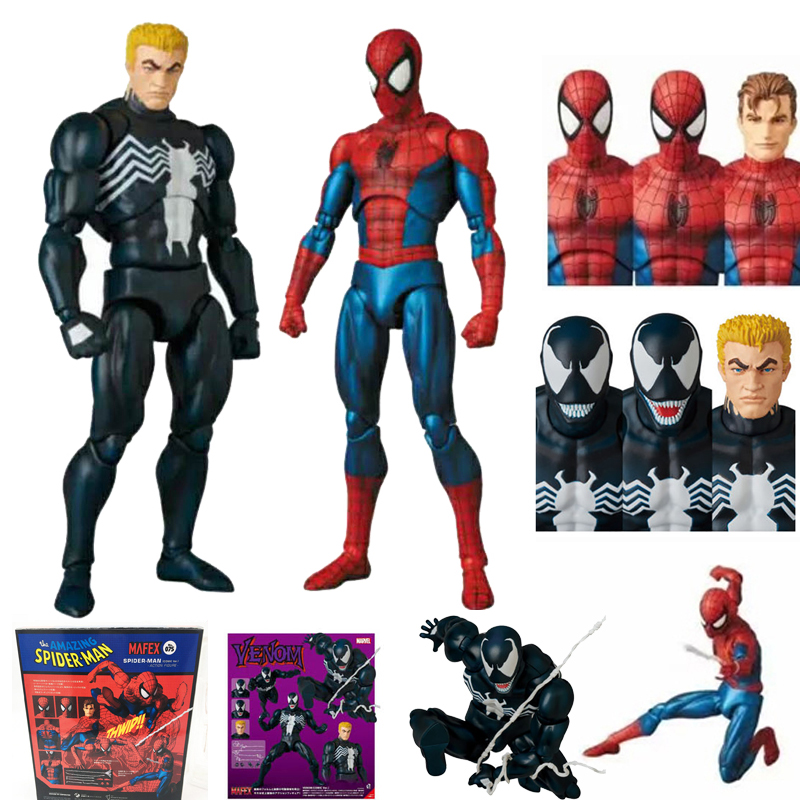 Mafex 075 Spiderman Venom 088 Spider-Man Comic Version Action Figure Model Toy Doll Gift For Kids