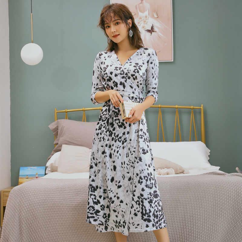 Imprimé léopard taille haute col en V mi-mollet 2019 nouveau décontracté bureau imprimé robe d'été élégant fête a-ligne robes Vestidos