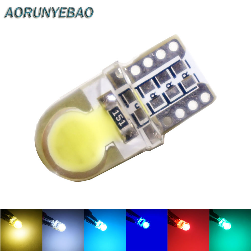 AORUNYEBAO <font><b>100X</b></font> Car <font><b>T10</b></font> <font><b>LED</b></font> W5W Bulbs 194 168 501 COB silicone shell auto <font><b>LEDS</b></font> Lights Super Bright Turn Side License Plate Light image