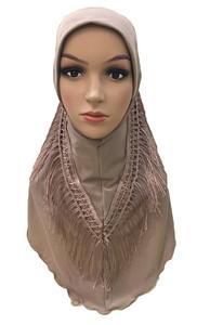 Image 3 - One Piece Amira Hijab Tassel Scarf Muslim Hijabs Women Headscarf Fringe Shawl Wrap Islamic Turban Full Cover Cap Niquabs Hijab
