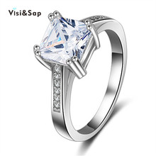 Vissap hot S925 wedding engagement Rings For Women white gold Filled romantic jewelry style accessories Wholesale VSR079