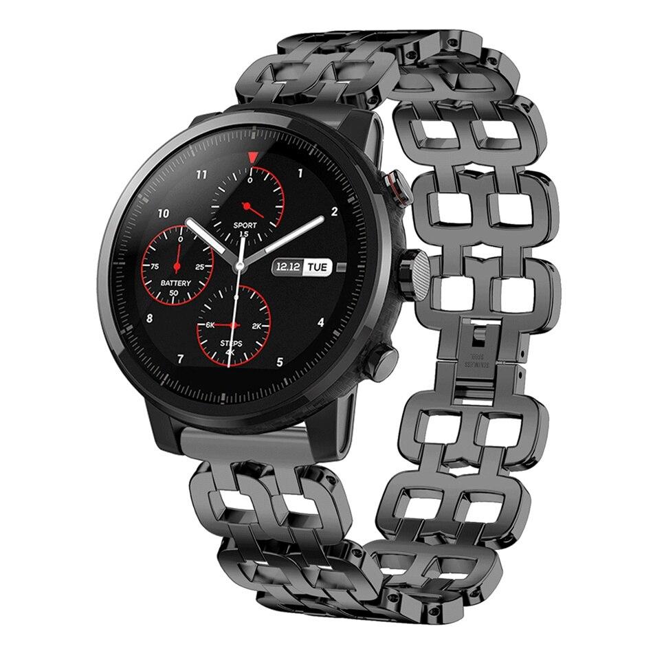 T 22mm Mode Inoxydable Montre En Acier de Courroie De Bande de Remplacement pour AMAZFIT Stratos 2 s Smart Smart Watch Accessoires