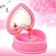 XXXG Romantic sweet heart mirror Musical Jewelry Box Music Box rotary Ballet Music Box birthday gift
