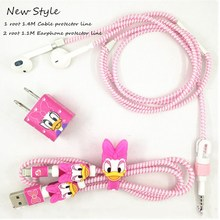 1.1M&1.4M Lovely Cartoon USB Cable Earphone Protector Set with Cable Winder stickers Spiral Cord protector For iphone 5 6 6s 7 cartoon usb cable earphone protector set with earphone box cable winder stickers spiral cord protector for iphone 5s 6 6s 7
