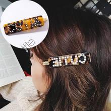 Korean Fashion Luxury Crystal Rhinestone Hair Clips Leopard Acrylic Hairpin Hair  Accessories for Women Letters Hairgrip 9ebe2386fd90