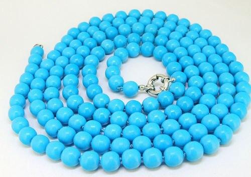 "FREE SHIPPING>>@> HOT@@@@@ 50"" Lariat Blue stone Necklace Round 8mm stone Bead Fashion New"
