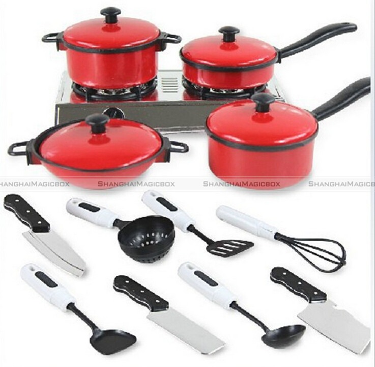 New 13pcs Set Kid Children Red Kitchen Utensil Accessories Cooking Play Toy Cookware 70115302 China