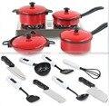 Nuevo 13 unids set kid niños rojo utensilios de cocina accesorios de cocina play juguete utensilios de cocina 70115302