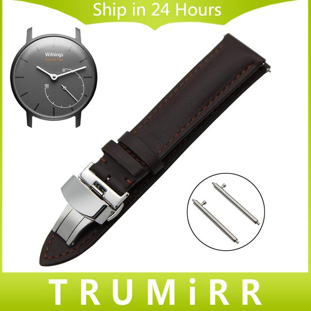 Faixa de Relógio 18mm Quick Release para Withings Activite/Aço pop/primeira camada de couro genuíno strap butterfly fecho de pulso pulseira