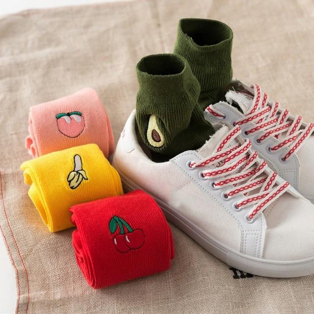 Cartoon Fruit Printed Girl's Cotton Socks