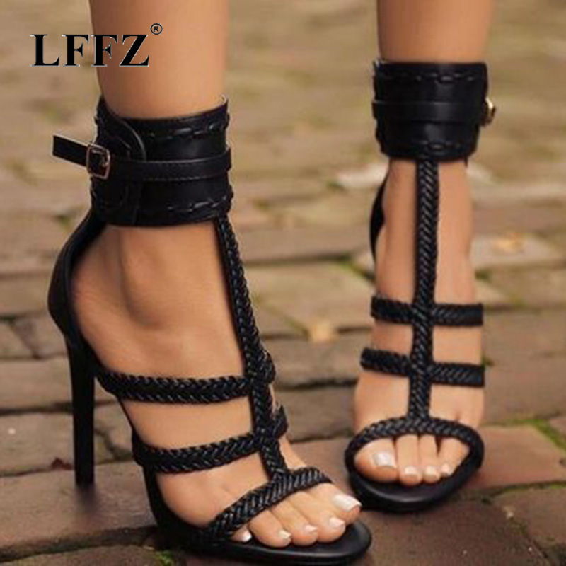 Lffz <font><b>2018</b></font> <font><b>Sexy</b></font> PU Women <font><b>Sandals</b></font> Thin High Heels 11 CM Gladiator Bandage Cross Tied Fashion Summer Party Femme Shoes Woman Pump image