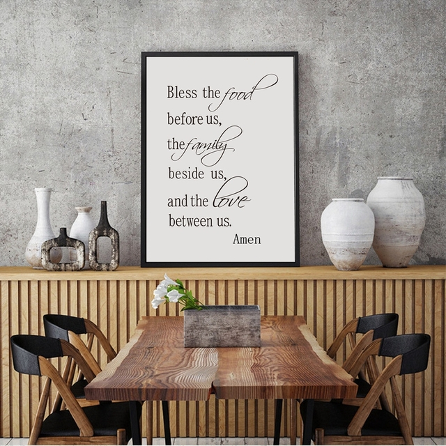 Religion Quote Canvas Art Print Poster Bless The Food Family Love