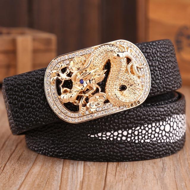 Hebilla de oro del dragón del mens cinturones de lujo de alta calidad de la perla ceinture correa de piel de vaca cuero genuino 2017 nuevo diseñador caliente de pescado blanco