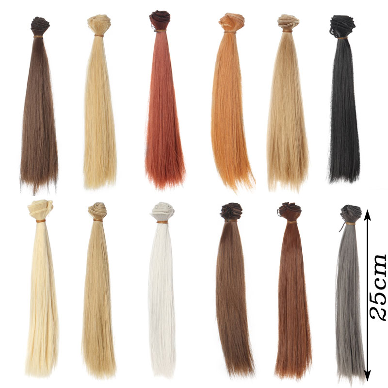 1pcs 25*100CM Straight hair For 1/3 1/4 1/6 BJD/SD Doll wigs Brown khaki black 1 8 1 6 1 4 1 3 uncle bjd sd dd doll accessories wigs gold long straight hair
