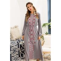 Womens New Autumn Lantern Long Sleeve Mexican Ethnic Style Floral Casual Long Dresses Boho Print Babydoll Dresses
